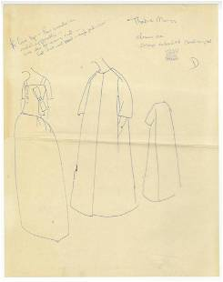 Jackie Kennedy's Own Annotated Fashion Sketch Submitted