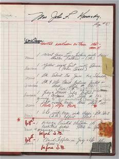 Jacqueline Kennedy Detailed Oleg Cassini Ledger of