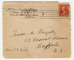 Susan B. Anthony Signed & Inscribed Envelope the Same