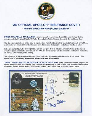 Apollo XI Insurance Cover Signed by Armstrong, Aldrin &