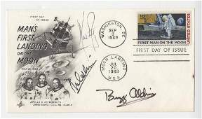 Apollo 11 Crew Signed FDC, Armstrong, Aldrin and