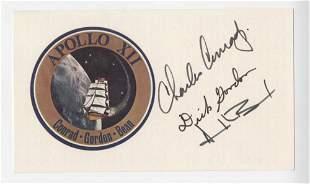 Apollo 12 Crew Signed Emblem Card, Conrad, Gordon and