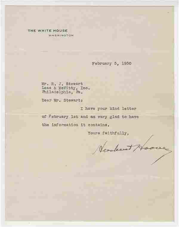 Herbert Hoover Signed Letter As President, 1930. Ex