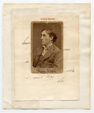 Henry Irving ANS on Lyceum Theatre Letterhead