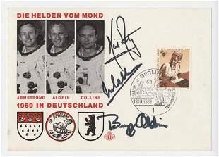 Apollo 11 Crew Signed German Cover, Armstrong, Aldrin