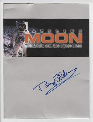 """Buzz Aldrin Signed """"Moon Folder"""" with Iconic Man In The"""