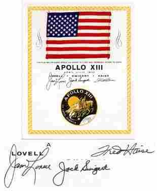 Apollo 13 United States Flag Space-Flown, Crew-Signed,