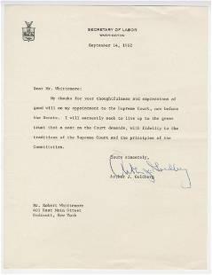 Arthur Goldberg TLS on His Supreme Court Appointment