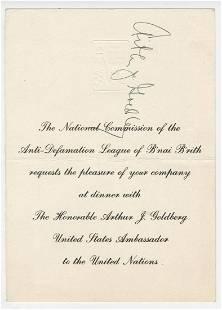 Arthur Goldberg Signed Honorary Dinner Invite Hosted by