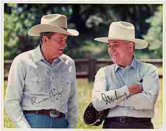 Ronald Reagan and Mikhail Gorbachev Finest Known Signed