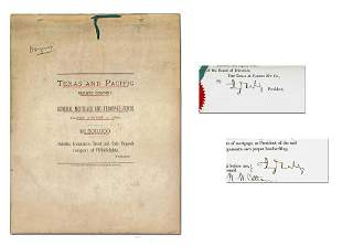 Jay Gould Twice Signed Important Railway Document