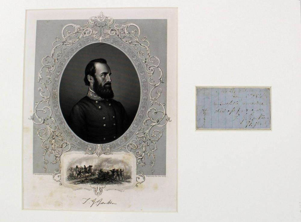 Fabulous War Dated Stonewall Jackson Endorsement, All