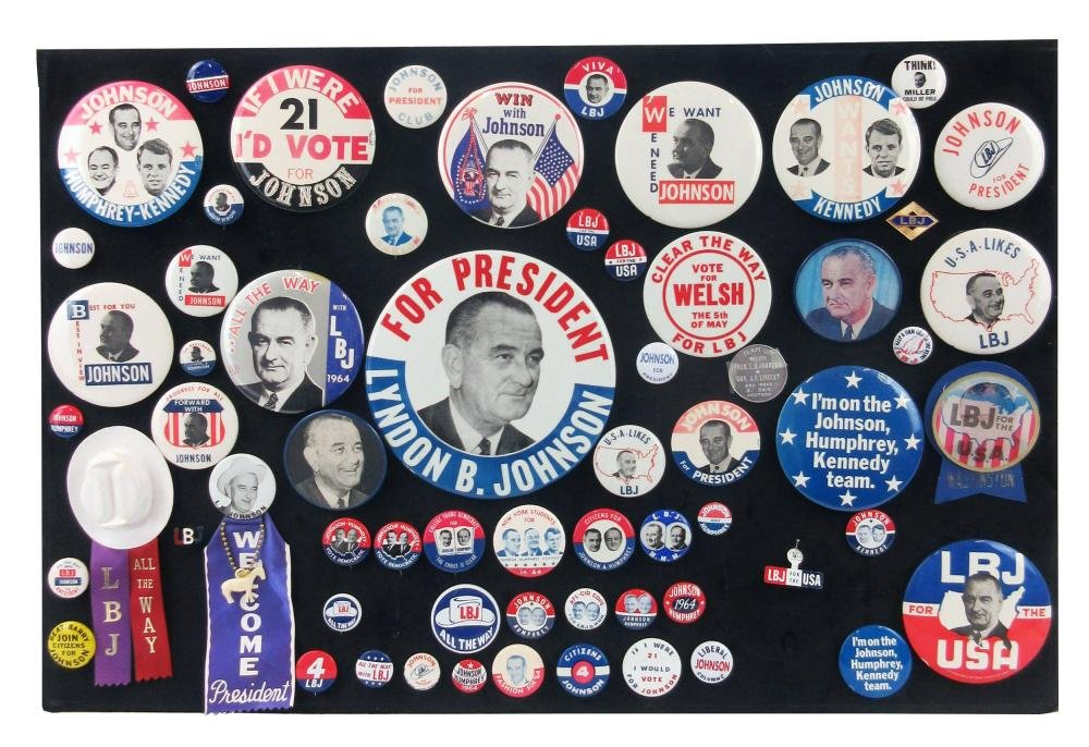 Lyndon B. Johnson Campaign Pinbacks & Memorabilia, 60+