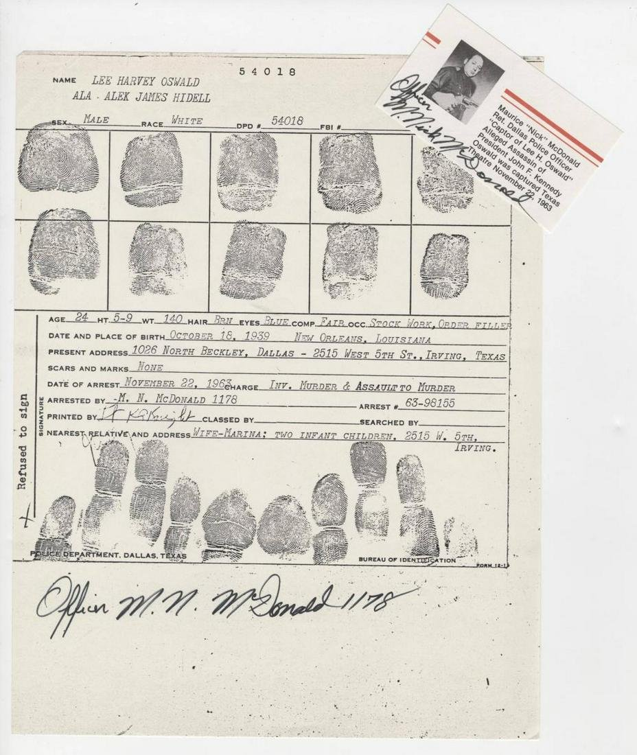 Oswald Police Dept Fingerprints Signed by Officer