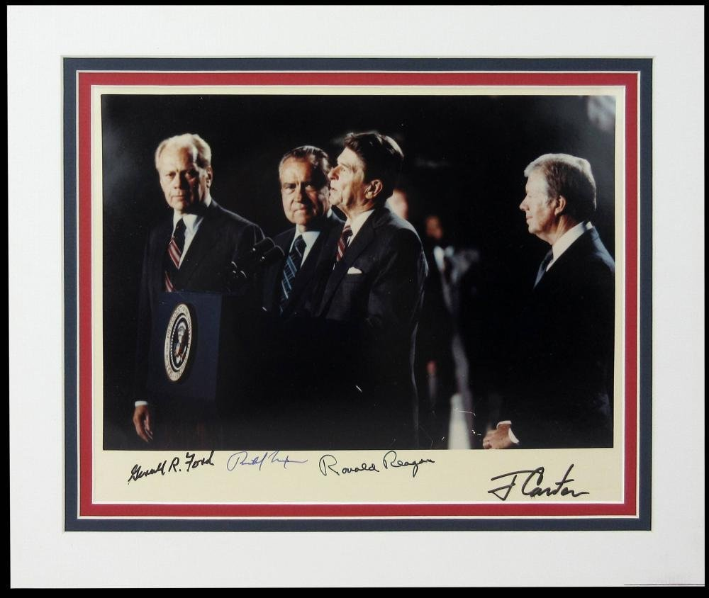 Four Presidents Signed Photo: Reagan, Carter, Ford,