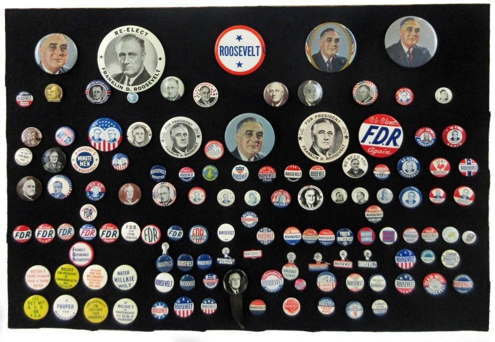Franklin D. Roosevelt Campaign Pinbacks & Memorabilia,