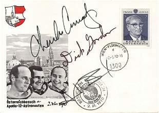 Apollo 12 Crew Signed Austrian FDC, Conrad, Gordon, and