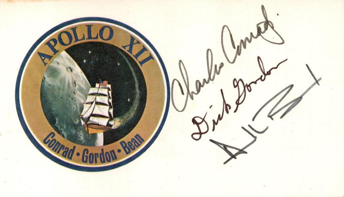 Apollo 12 Crew-Signed Mission Card, Conrad, Gordon, and