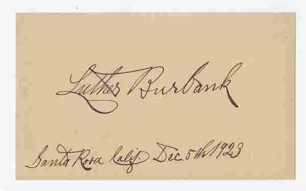 Luther Burbank Signed Card, Father of McDonald