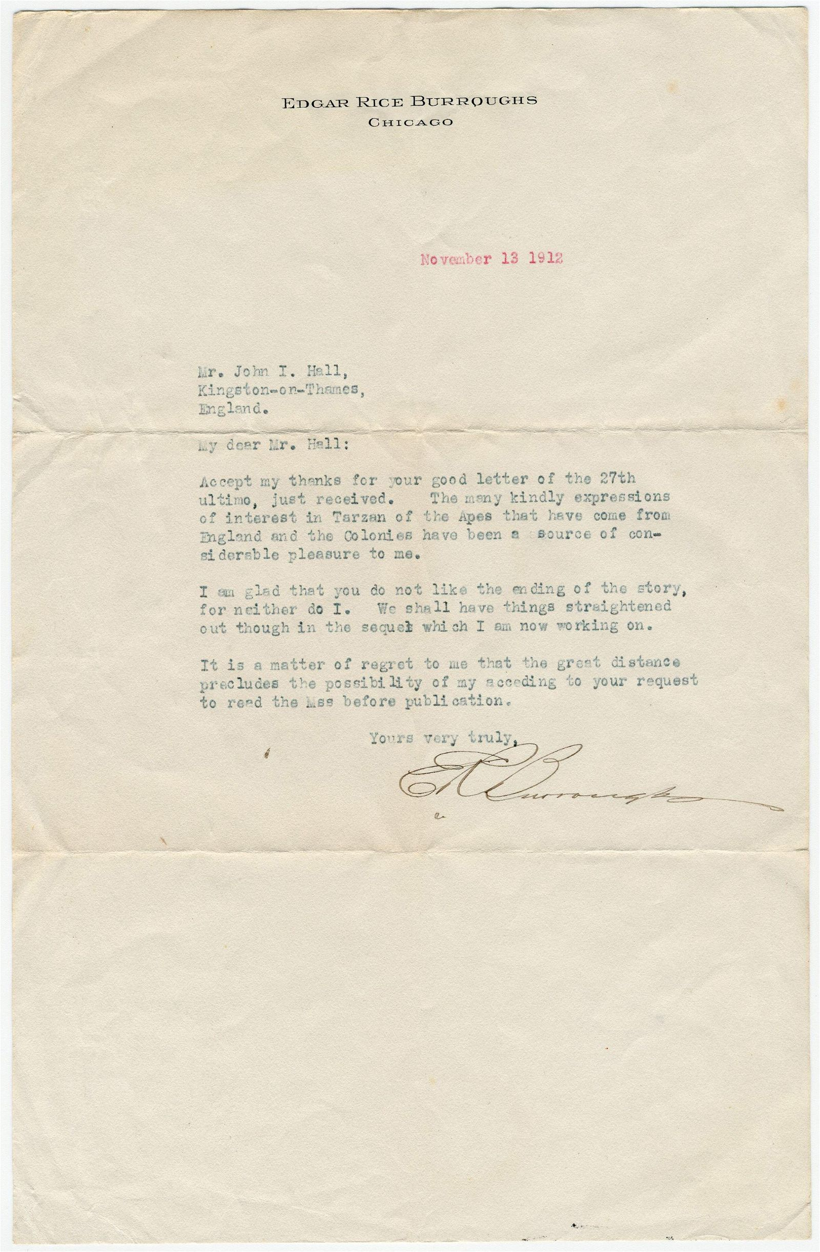 Edgar Rice Burroughs TLS Re: Unsatisfactory Ending of