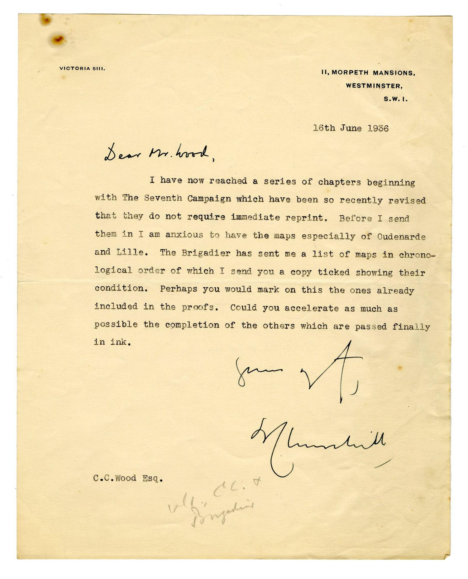 Winston Churchill Inquires About Maps for His Biography