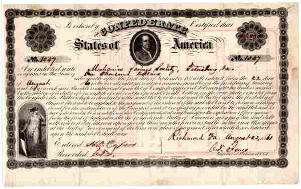Rare Early Confederate Loan Certificate with Image of