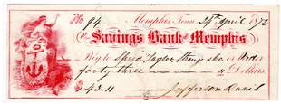 Superb Jefferson Davis Signed Check from Life in
