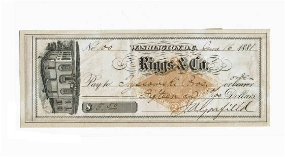 James Garfield Signed Check as President One of Only