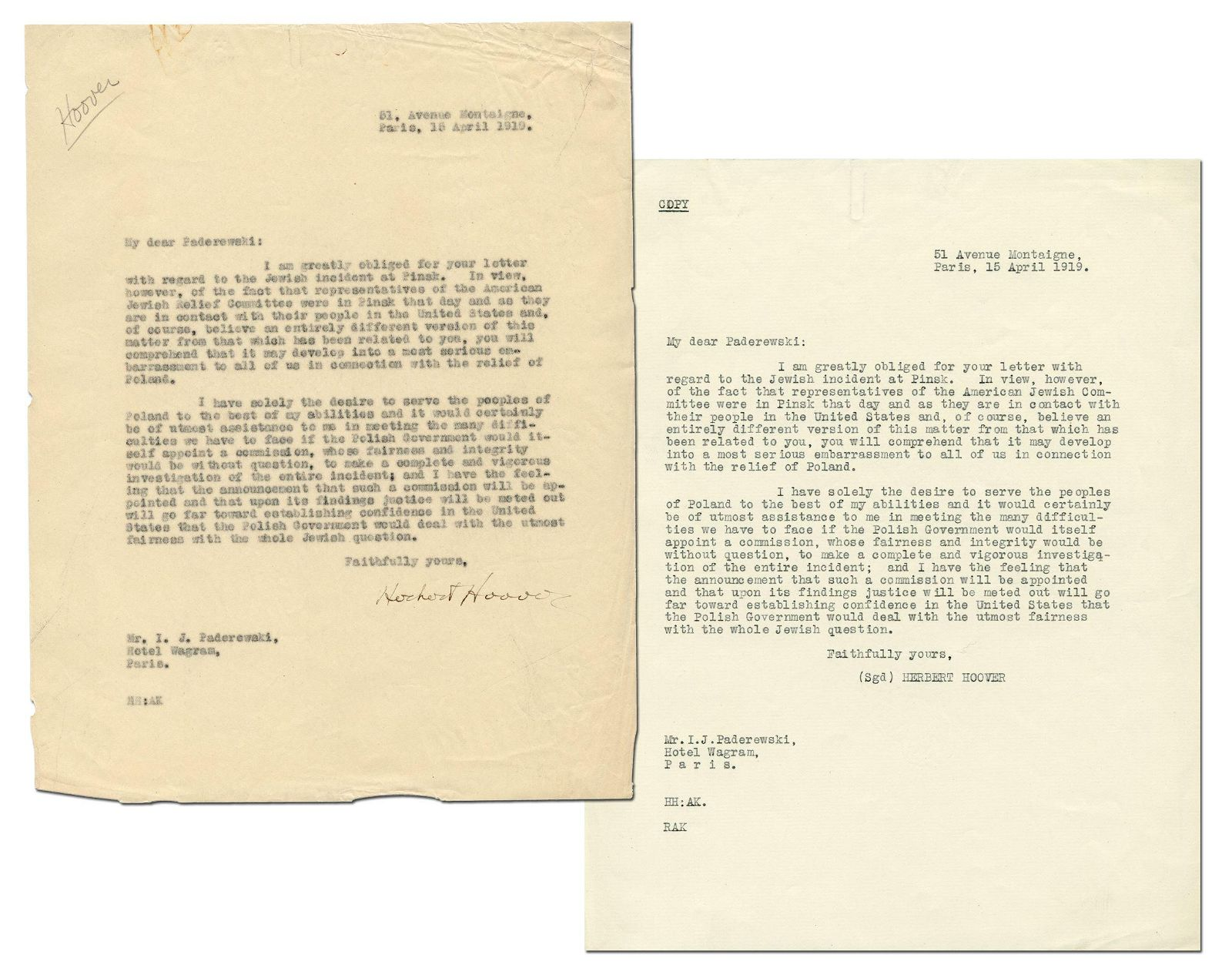 "Herbert Hoover TLS to Polish Prime Minister Re: ""Jewish"
