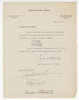 Herbert Hoover Signed Letter Giving Permission to go to
