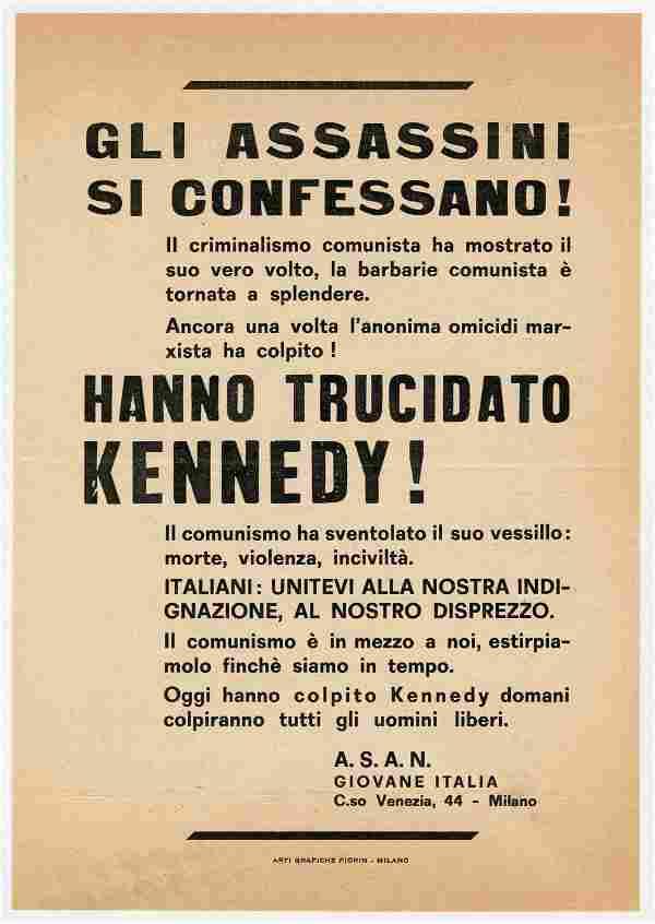Rare Italian John F. Kennedy Assassination Broadside: