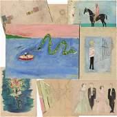 8 Rare Paintings Attributed to John & Jackie Kennedy,