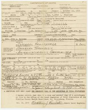 Jack Kerouacs Mothers Embossed Death Certificate