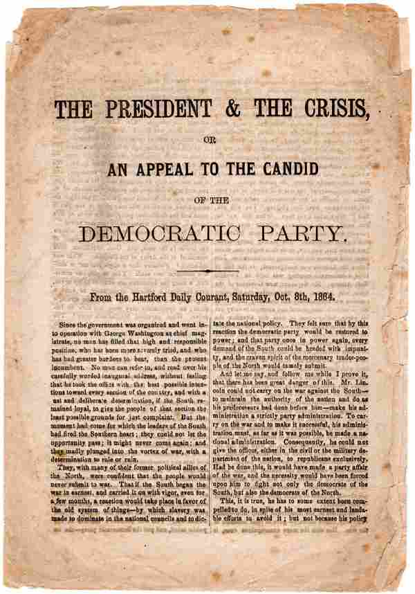 Campaign Document Contrasts Lincoln's Prudence with