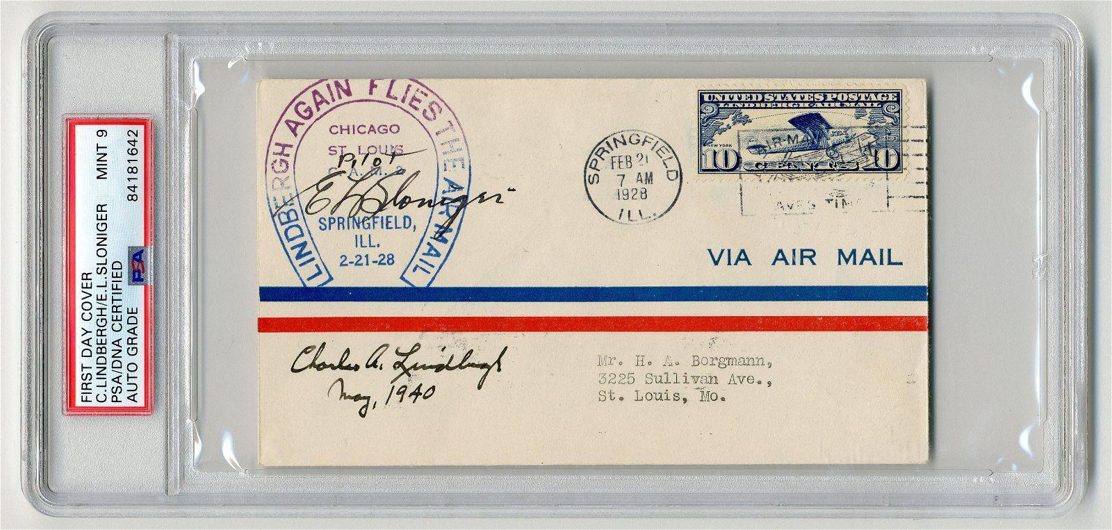 "Charles A. Lindbergh & E.L. Sloniger Signed ""Lindbergh"