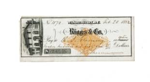 William T. Sherman Signed Personal Check 1882