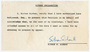 Sirhan Sirhan Super Rare Assassin Signed Document