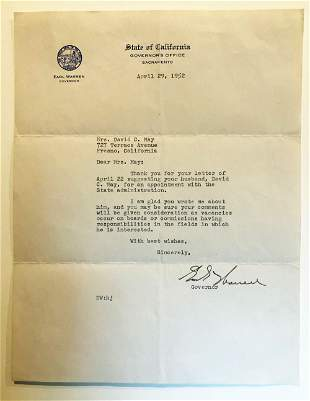 Earl Warren TLS on Appointment in State Administration