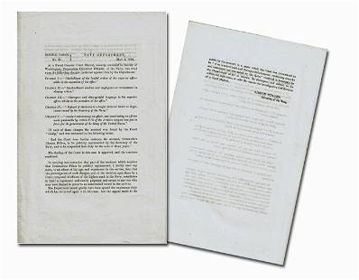 Gideon Welles Printed Order Court Martial Finds Naval