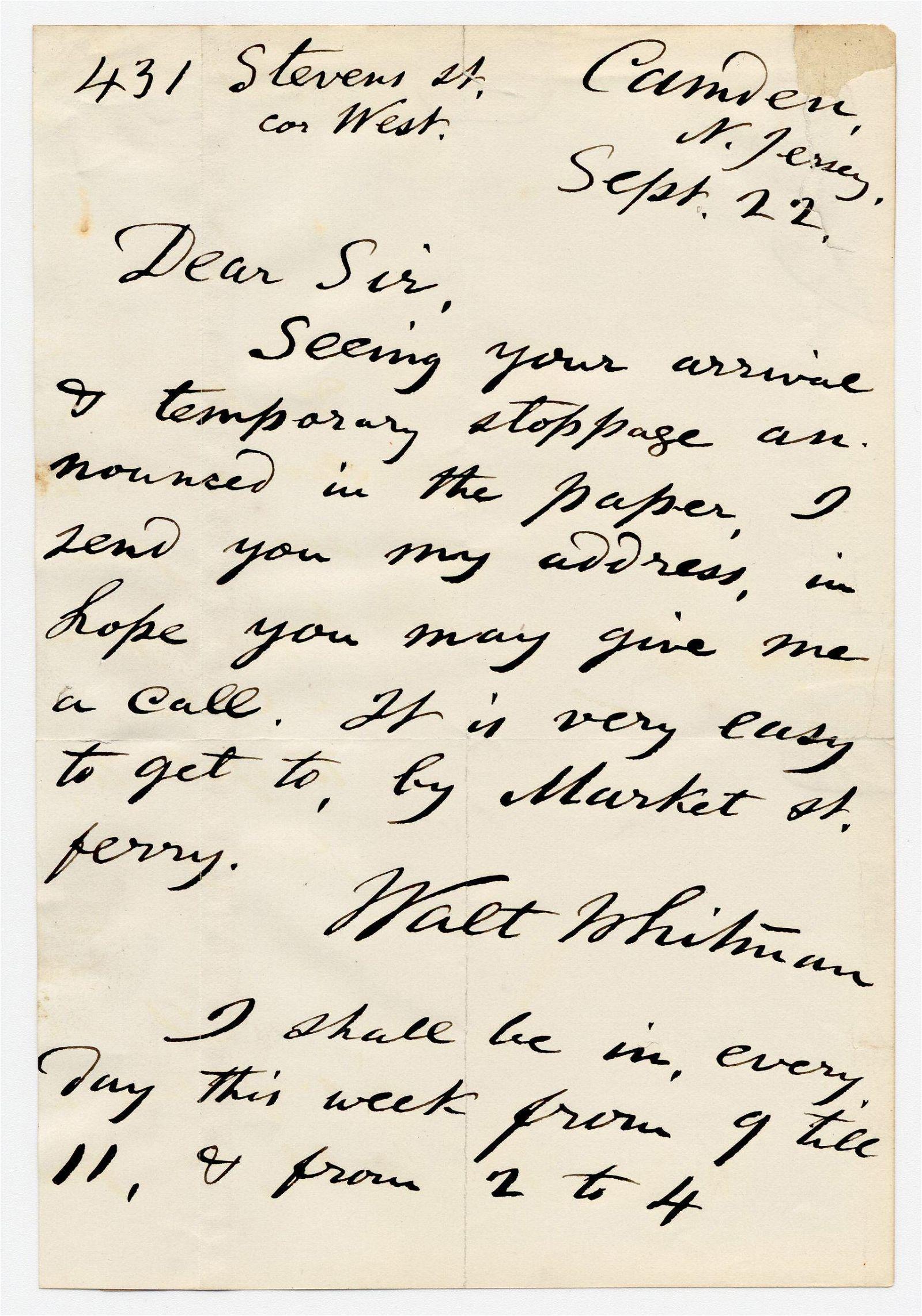 Walt Whitman ALS Inviting Philadelphia Visitor to