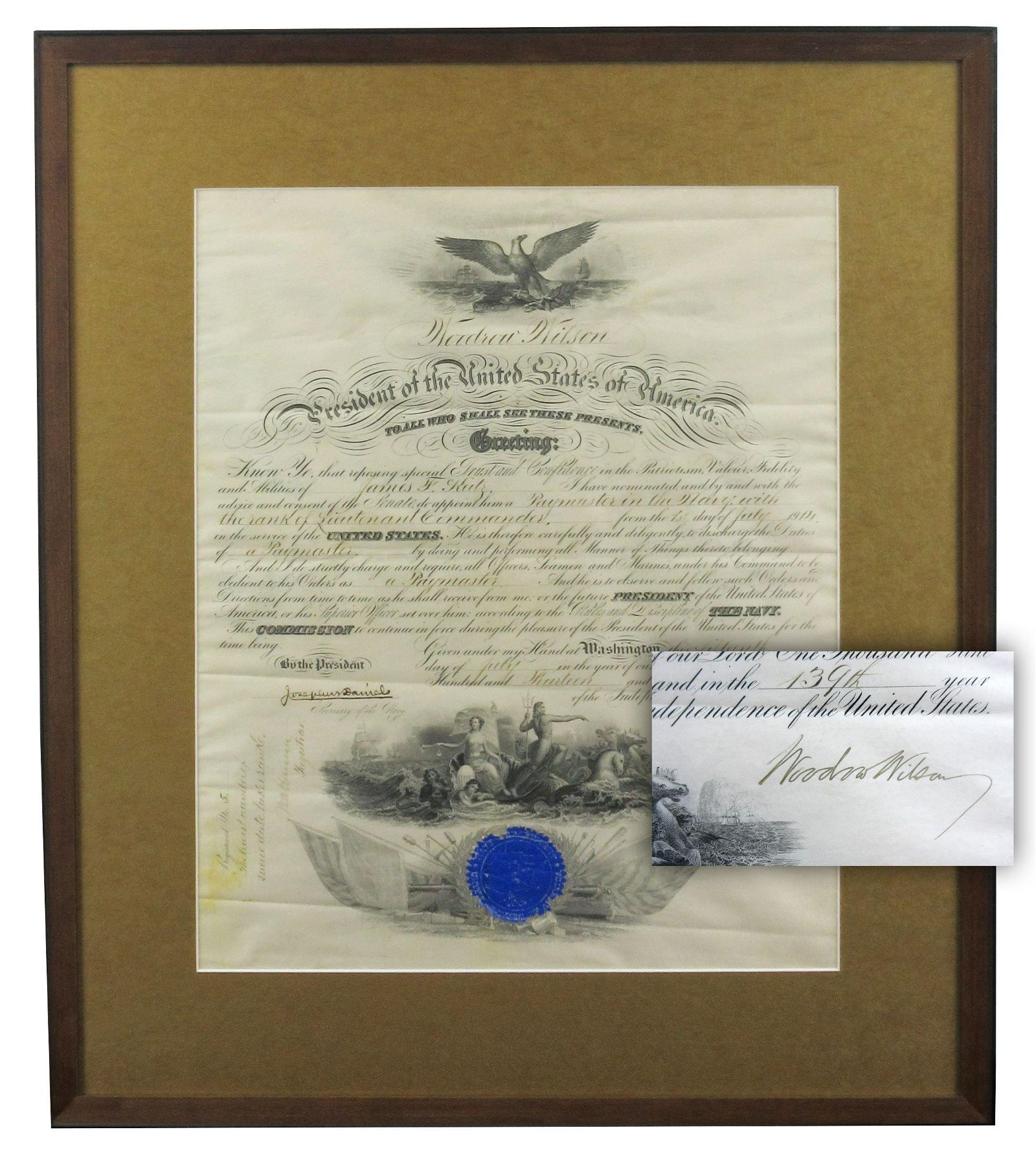 Woodrow Wilson Signed Naval Commission Promoting Son of