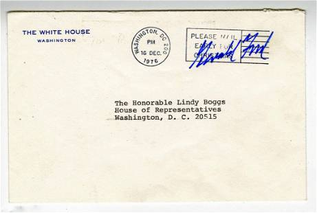 Gerald Ford Postally Used Free Frank From The White
