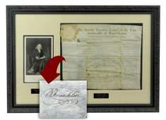 Benjamin Franklin Boldly Signed Document, Superb