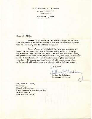 SC Justice Arthur J Goldberg Typed Letter Signed and