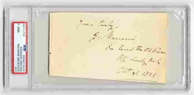 Guglielmo Marconi Autograph PSADNA Slabbed Graded