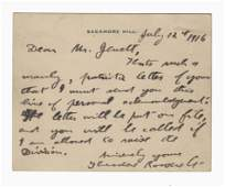 Theodore Roosevelt Autograph Letter Signed