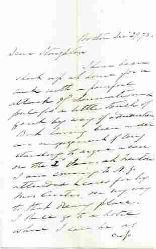 Benjamin Curtis Autograph Letter Signed Referencing A
