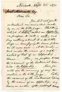 Joseph P Bradley Scarce Supreme Court Autograph Letter