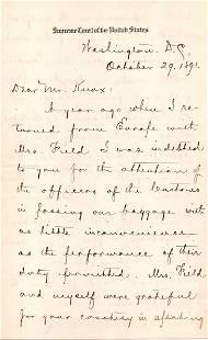 Stephen J Field Lovely Letter Signed on Supreme Court