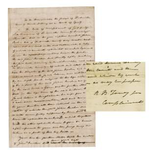 Roger Taney Lengthy Court Complaint 1812